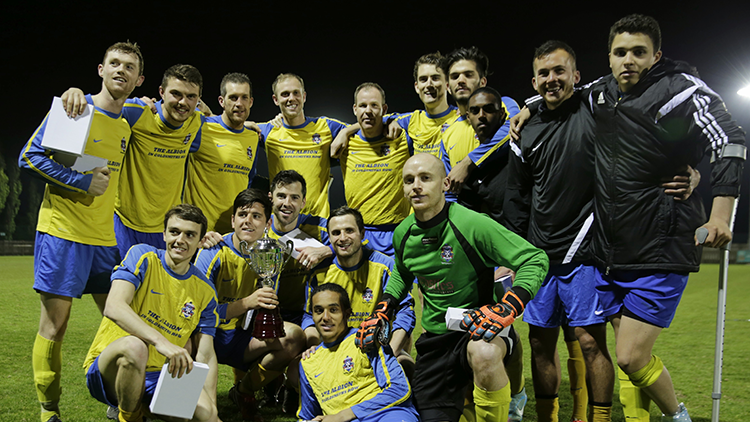 Sporting Hackney pose with trophy after cup triumph. Pic: Sporting Hackney Football Club