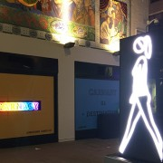 Shaida Walking by Julian Opie. Lumière London Festival. Photo: Simisola Jasmine Jolaoso