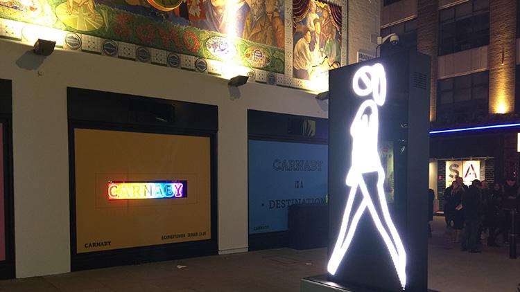 Shaida Walking by Julian Opie. Lumière London Festival. Photo: Simisola Jasmine Jolaoso