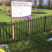 Floral tributes at South Norwood Recreational Ground for David Darko. Pic: Jasmin Dyer