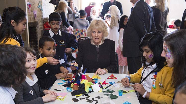 The Duchess of Cornwall meets local schoolchildren. Pic:Matt Crossick