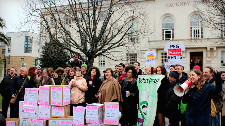 Hackney protesters gathered outside Hackney Town Hall. Pic: Nairomi Alice Eriksson