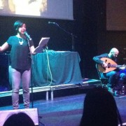 Rafeef Ziadah performing spoken word. Pic: Jo Turner