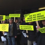 Protesters gather outside Fairfield Halls. Pic: Save Fairfield Halls