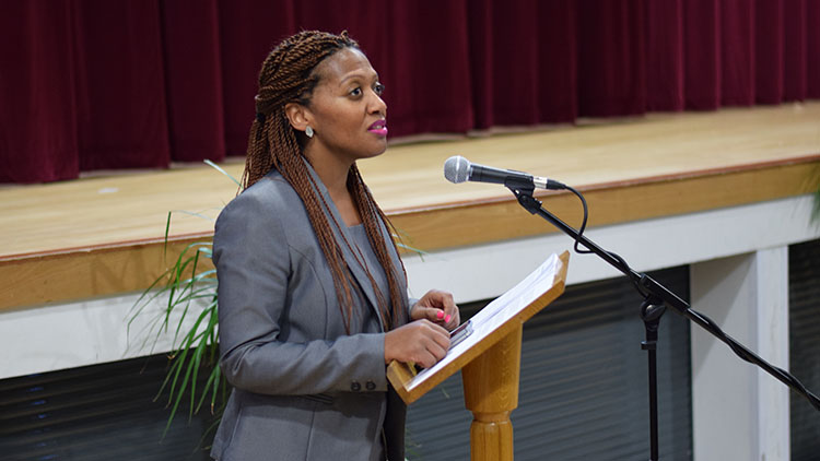 Head of Bishop Challoner Girls' School Chantelle Easmon-Johnson at the launch of #GirlsWithGoals. Pic: James Johnston