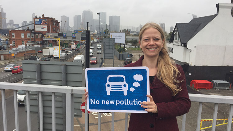 Sian Berry protesting against the Silvertown Tunnel. Pic: Simon Edge/ London Green party