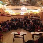 Rail passengers voice concerns at Crofton Park's Rivoli Ballroom. Pic: Michael Woodhead