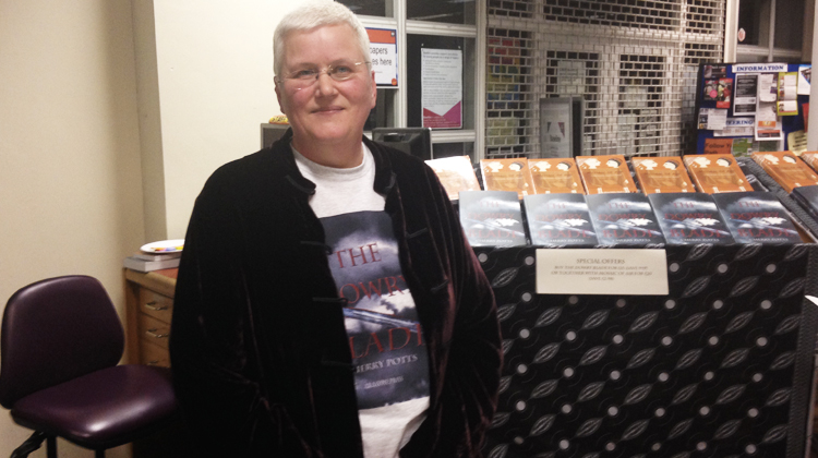 Cherry Potts with her new novel at the launch