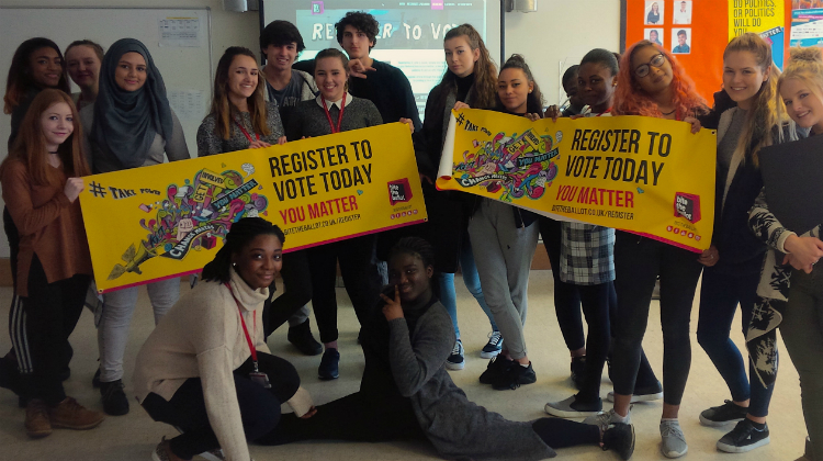 Students at Chace Community School in Enfield support the National Voter Registration Drive. Pic: Bite the Ballot