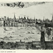 London as drawn in 1616, the year of Shakespeare's death, by Visscher.