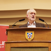 Jeremy Corbyn speaking at Goldsmiths Pic: Sophianne Morrissey