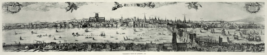 London as pictured in 1616 by Visscher.