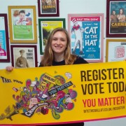 A student supports the 2016 National Voter Registration Drive. Pic: Bite the Ballot