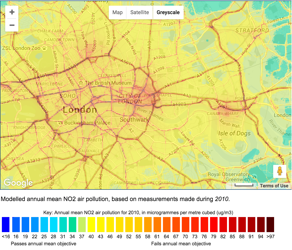 East London air pollution heat map (Pic: London Air/ Google Maps)