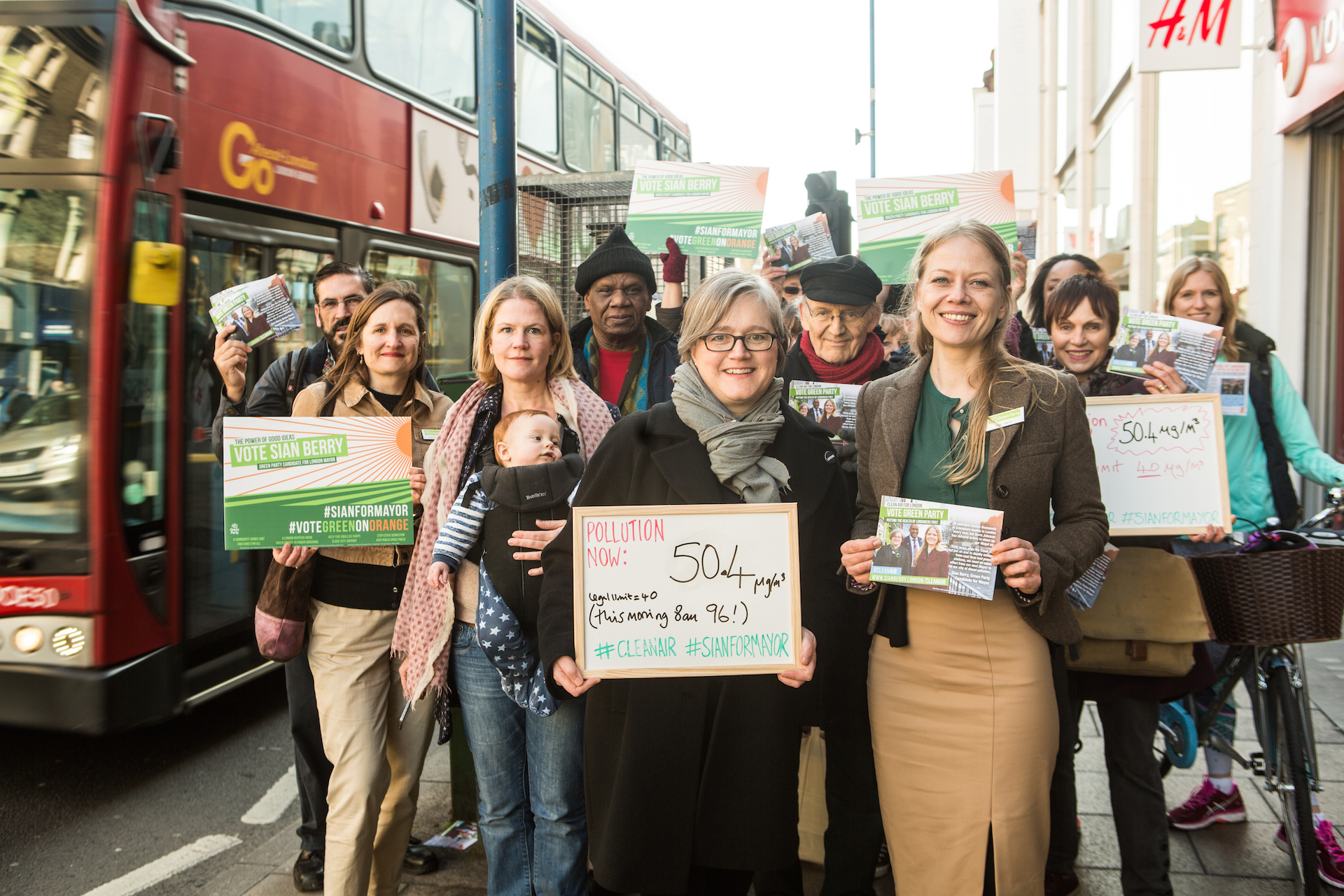 Sian Berry (front right) campaigning for Mayor of London (Pic: Green Party)