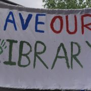 A banner from the Save Lewisham Libraries protest. Pic: Holly Gazzard