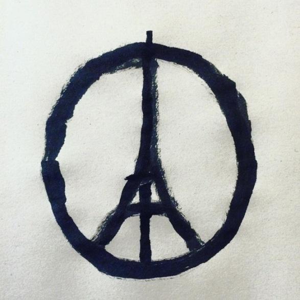 Jean Jullien's 'Peace for Paris' sketch that went viral after the terror attacks in paris last November Pic: Jean Jullien
