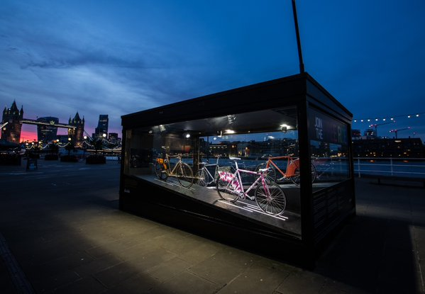 Buzzbikes on display on the bank of the Thames outside the Design Museum Pic: Buzzbike