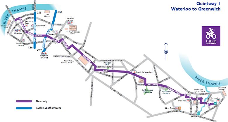 Quietway 1 runs through Lambeth, Southwark, Lewisham and Greenwich. Pic: TfL