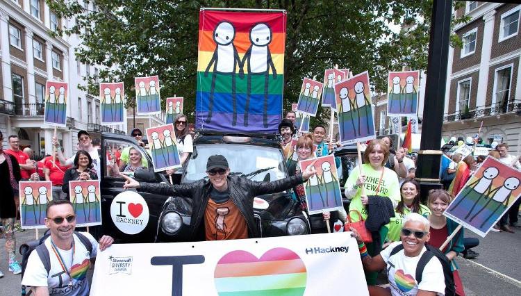 Stik banner at London Pride march 2016 Credit: Hackney Council