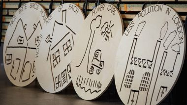 The wooden panels created by Hackney students. Credit: Flint