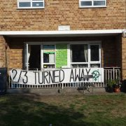 Sisters Uncut's occupied Hackney Council flat in Marian Court. Credit: Solomon Elliott