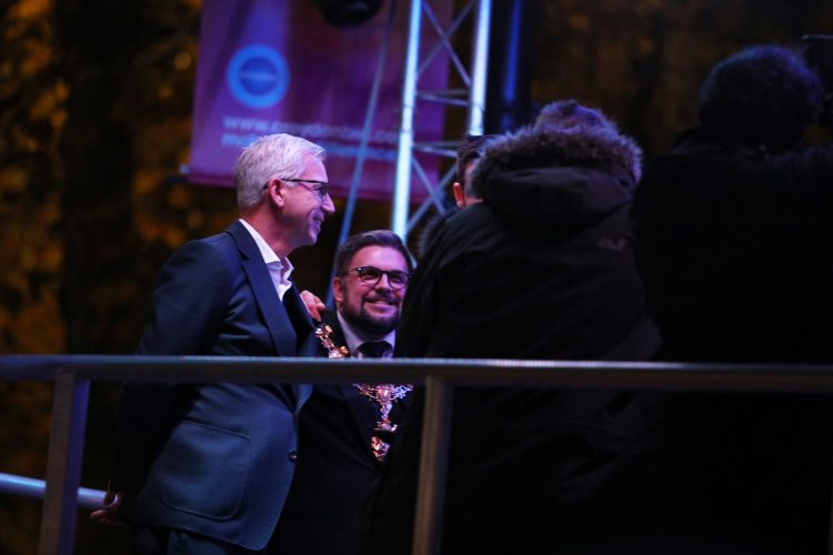 Alan Pardew and Mayor Wayne Trakas-Lawlor on stage. Pic: Anastasia Shub