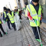 Students from Whitechapel's London Islamic School pick up litter along the Commercial Road. Pic: Kois Miah