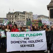 Sisters Uncut at Trafalgar Square as part of the rallying. Pic: Marie Segger