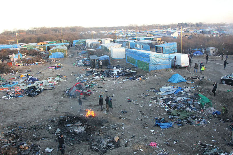 Bird's eye of the Calais Jungle in July 2016. Pic: Malachy Browne, Wikimedia Commons