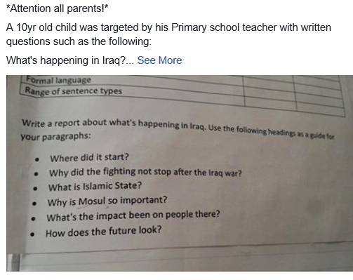 A screen-grab of a Facebook post showing the question paper.