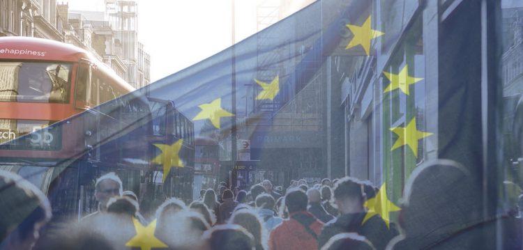 An EU flag over London. Pic: Descrier