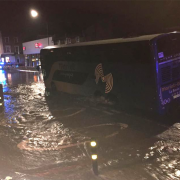 The coach during the flooding. Photo: Kerry Welsh