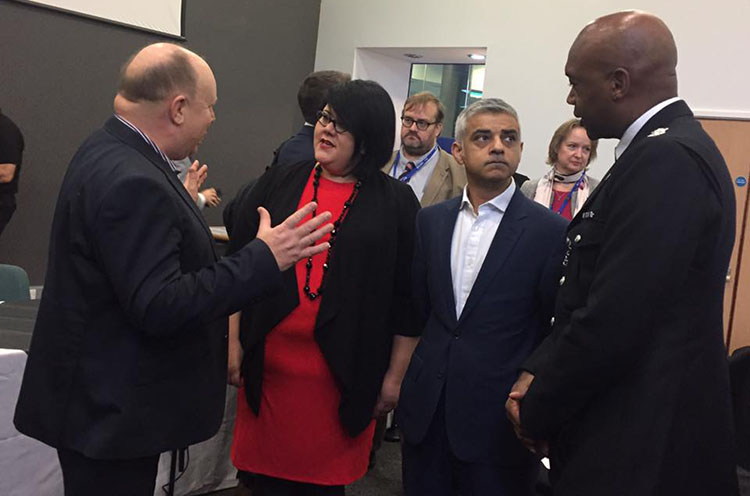 Amy Lamé and Mayor Sadiq Khan at the Croydon Congress Economic Summit in South London yesterday. Pic:
