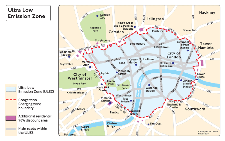 The current ULEZ (Ultra Low Emission Zone) Boundary. Pic: TfL