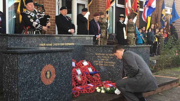 Flowers were laid for the crash victims at a Remembrance Sunday memorial in New Addington