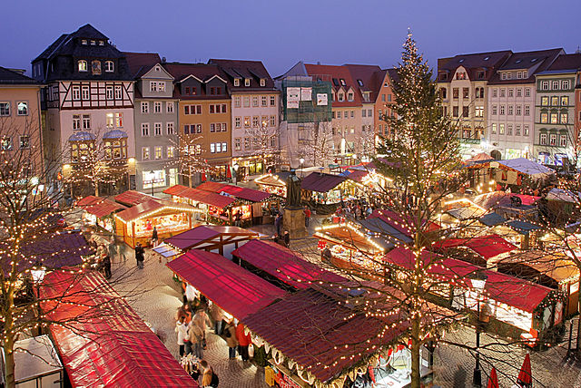 Typical German Christmas market in the town of Jena Pic:ReneS