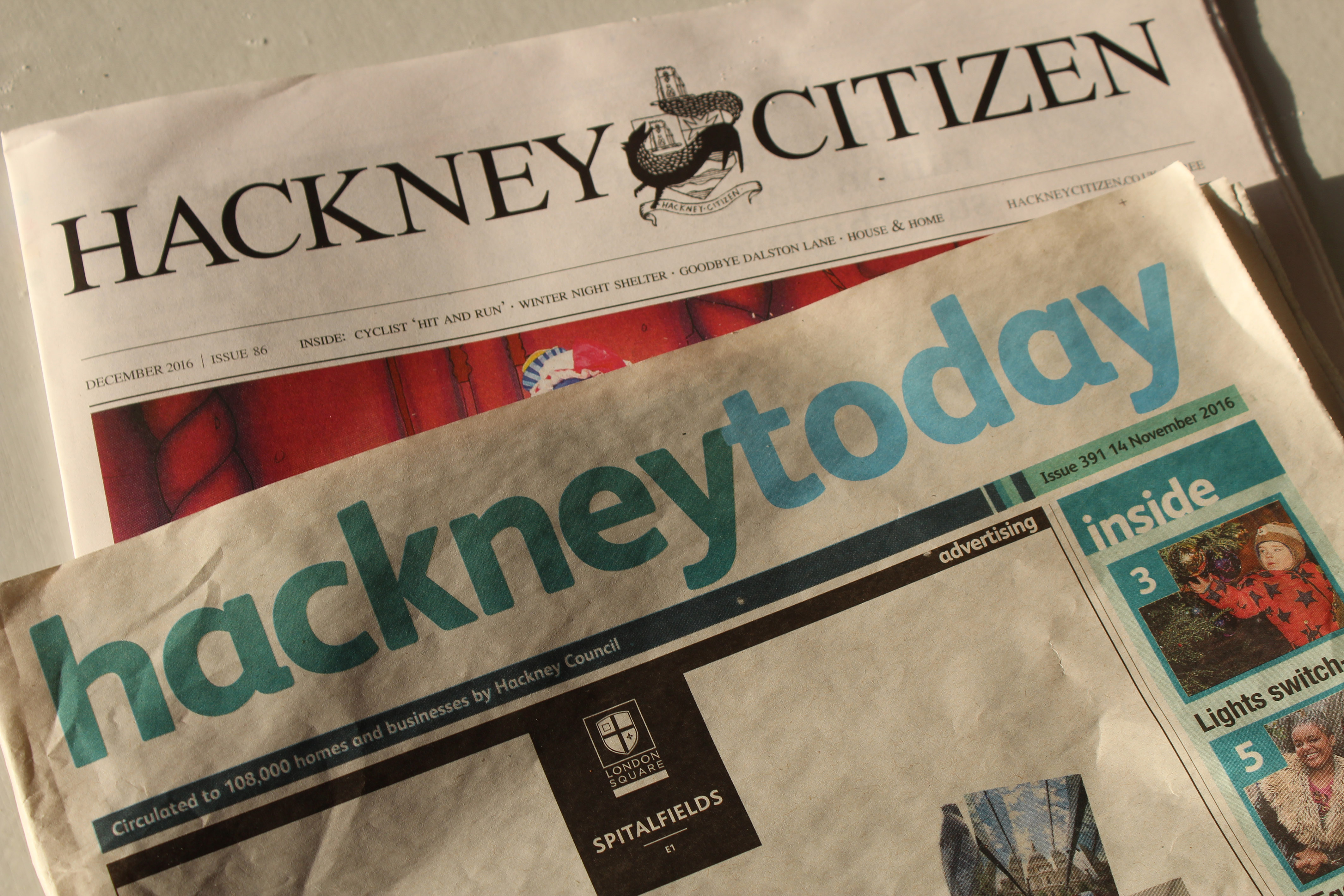 The two newspapers at loggerheads. Pic: Hackney Citizen