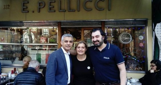 Sadiq Khan with Anna and Nevio Pellicci outside El Pellicci cafe.Pic: East End Trades Guild