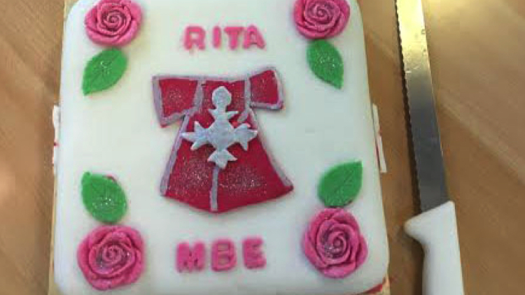 A celebratory cake for Rita Upchurch. Pic; RMBI.