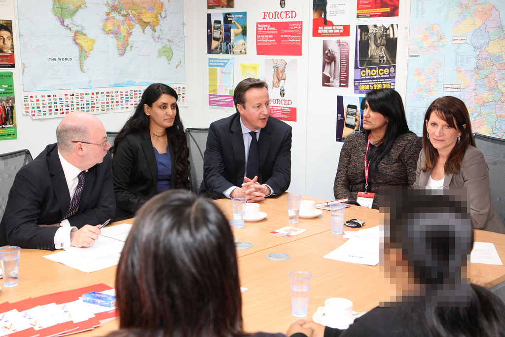 Aneeta Prem - Founder of Freedom Charity, In a meeting with David Cameron. Pic: FCO (Flickr)