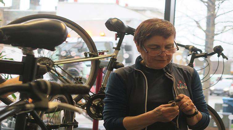 Jane Davis hard at work. Pic; Harry Ashman