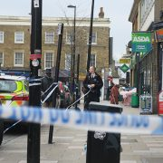 Police guarding the area remove the forensic cordon- Pic Harry Ashman