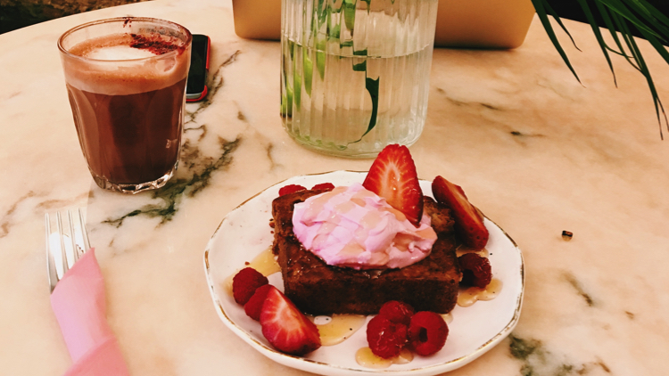 Red velvet latte and toasted banana bread. Pic; Holly Patrick.