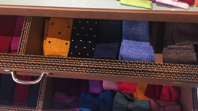 Some of the gentleman's ties on offer at the shop. Pic; Benedetta Ricci.