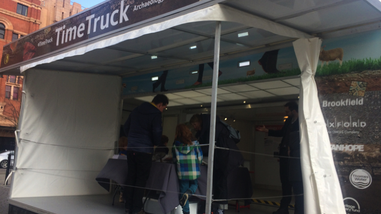 The Time Truck at its pop-up location outside Hackney Town Hall. Pic; Natasha Chisabingo.