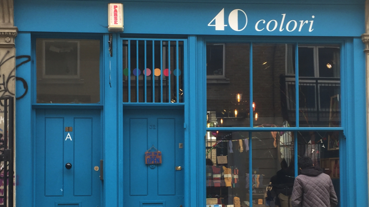 The exterior of 40 Colori, an Italian male accessories shop. Pic; Benedetta Ricci.