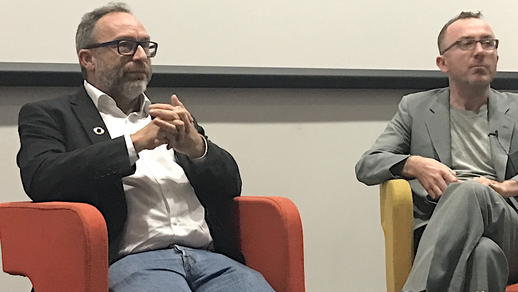 Jimmy Wales, founder of Wikipedia, with James Harkin of the Centre for Investigative Journalism Pic: Hung Nguyen
