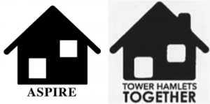 Logos for Aspire (left) and rejected Tower Hamlets Together (right)