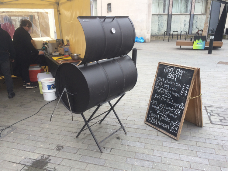 Jerk Off BBQ's stall and barbecue grill at Catford Food Market. Pic: William Taylor-Gammon